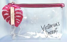 VICTORIA'S SECRET CLEAR PINK LEAF MAKEUP COSMETIC BAG POUCH CASE NWT