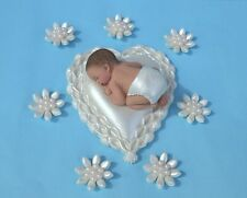 Edible baby Christening cake topper + flowers edible heart and baby cake topper
