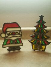 Vtg Cast Iron Christmas Tree Santa Stained Glass Votive Candle Holders