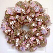 Spring Easter Or Nursery Bunny Ribbon  Deco Mesh Wreath