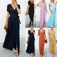 Womens Deep V-neck Casual Maxi Dress Ladies Party Evening Long Wrap Sun Dress J