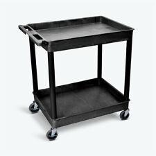 Luxor Tc11 400 Lbs Cap 2 Shelf Plastic Utility Cart Blk New