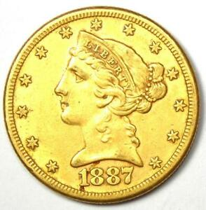 1887-S Liberty Gold Half Eagle $5 Coin - Choice AU Details - Rare Coin!