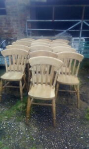 Old Used Pine Kitchen Farmhouse Chairs