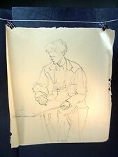 Man Drawing on a Table Sketch Original Ink by C. Schattauer Kelm
