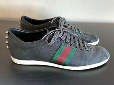 GUCCI Men's Bambi Black Glitter Sparkle Shoe GRG Web LowTop Sneaker Sz 8G US 9.5