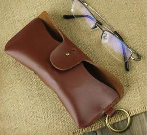 men women Eyeglass Cases sunglasses bag holder cow Leather Customize brown z323
