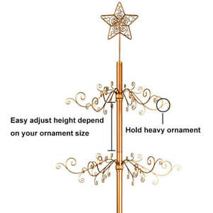"""Metal Christmas Tree Wrought Iron Ornament Display Stand 174 Hook 84""""H Gold"""
