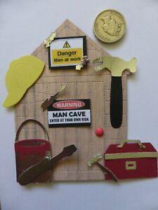 4 Large Man cave DIY Shed detailed handmade card toppers Men Grandad retirement