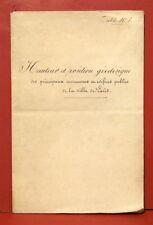Manuscrit : Hauteur et position géodésique des monumens... publics... Paris 1839