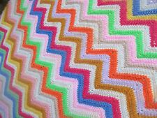 ZIG ZAG BOHO rainbow CROCHET AFGHAN throw LAP blanket THROW BOHEMIAN chic