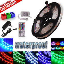 5M RGB 5050 SMD Flexible Strip Light 44KEY Remote 12V 2A Power Waterproof 300LED