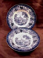 ROYAL WORCESTER / PALISSY 1790 AVON SCENES IN BLUE, 2 RIMMED SOUPS
