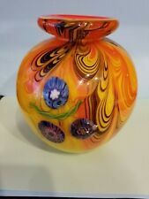 "Modernist Italian Murano  Mille Fiori Orb  Vase by Fratelli Toso 1950's, 7"""