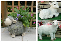 Resin SHEEP Lamb Farm Yard Animals Patio Sculptures Garden Ornament Statue STONE