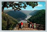 Ansted WV, New River Canyon, Hawk's Nest Park, Chrome West Virginia Postcard