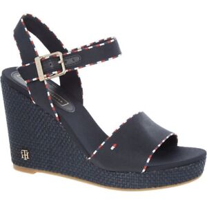 Tommy Hilfiger Sandals Size UK 6.5 EUR 40 Navy Woven Wedge Designer High Heels