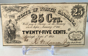 1862 25 Cent State of North Carolina Raleigh Confederate Currency Note NCCR100