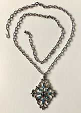 """Avon Silvertone Necklace with Pendant, 24"""" Long with Clasp"""