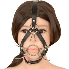 Steel O-Ring Spider Open Mouth Ring Gag Head Harness Restraint with Nose hook