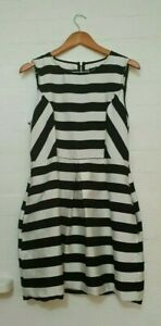 DOTTI Label Womens Black White Striped A-line Pocket Dress Size 14