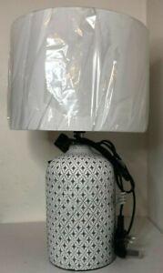 PAIR Morrocan Print Table Lamp - 37cm H, 24cm shade diameter , Ceramic - NEW