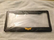 """Dark Knight "" BLACK w Yellow License Plate Frame new batman batmobile QTY 2"
