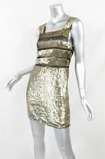 TOPSHOP UNIQUE Womens Gold Sequin Mesh Cocktail Party Mini Sheath Dress 4/8 NEW