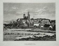 Oelsnitz  Sachsen seltener echter, alter Stahlstich 1842