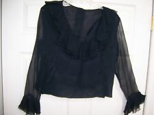 MORLOVE COUTURIER Vtg 40s/WWII BLACK Sheer Ruffle CREPE RAYON BLOUSE/TOP  M or L