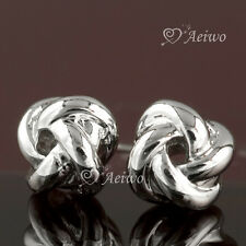 EARRINGS STUD 9K GF 9CT SOLID WHITE GOLD FILLED 6MM CUTE HIGH QUALITY