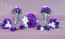 Wedding flower bouquet set! Purple Roses With White Calla Lillies