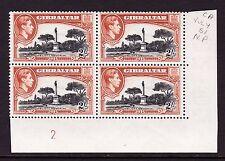 GIBRALTAR 1938-51 2/- PERF.13 IN PLATE BLOCK SG 128b MNH.