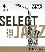 1 Box of 10 D'Addario/Rico Select Jazz Reeds Filed Alto Sax 4-Soft 4S RSF10ASX4S