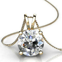 "2.0Ct Round Cut 14K Yellow Gold Solitaire Pendant Necklace Box With 18"" Chain"