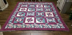 "Vintage Patchwork Quilt Log Cabin Star Fan Purple Green Floral Queen  90"" x 94"""