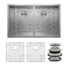 """33"""" x 22"""" x 9"""" Stainless Steel Undermount 50/50 Kitchen Sink Dish Grid Drain Kit"""