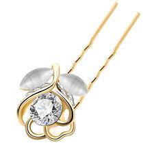 Bridal Gold White Tulip Flower Bun Hair Pins Accessories Head Decoration HA227