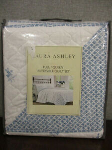 NWT-Laura Ashley Full/Queen Reversible Quilt 3-Piece Set- Floral Blue