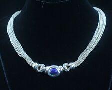 Tiffany & Co 18K Gold Silver Blue Lapis Gemstone Multi Strand Necklace Pendant