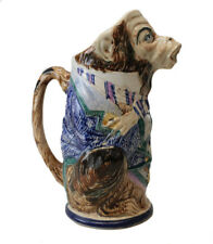 18-19th Century Faience Character Pitcher Jug monkey in costume
