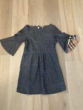 Ladies BURBERRY Size 8 Denim Pintuck Detail Dress Blue