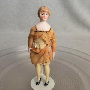 "5-1/4"" antique bisque Parian shoulder head German lady dollhouse Doll as found"