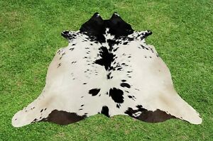 Small Cowhide Rug Black Real Hair on Cow Hide Skin Area Rugs Leather 4 x 4 ft