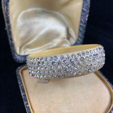 Vintage Plastic Rhinestone Wide Bangle Bracelet Maybe Celluloid