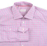 Eton Slim Fit Pink Black Plaid Check 100% Cotton Button Down Dress Shirt 15.5