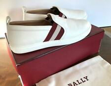 Bally Women's Henrika White Calf Leather Slip-on loafer boater Shoe, Size 8.5