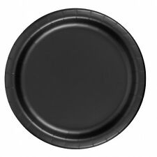 "24 Plates 6 7/8"" Paper Dessert Plates Wax Coated - Black"