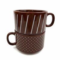 Vtg Made In Japan Set Of 2 Brown Stripe Polka Dot Stacking Coffee Mug Cups