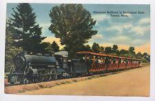 1944 Postcard Miniature Railroad Detroit Michigan Zoo US Navy postmark Tichnor